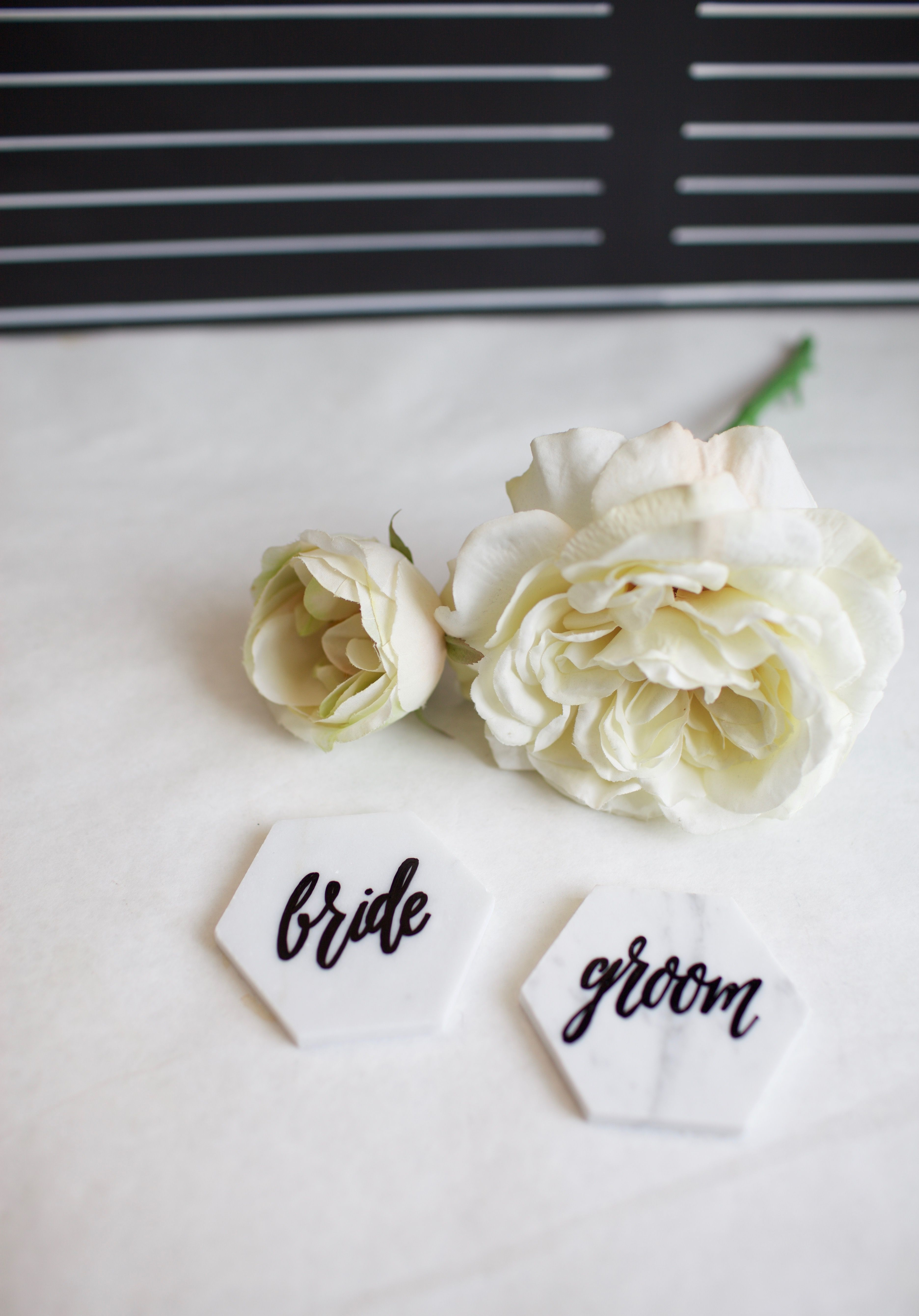 Hand painted bride and groom name plates on Carrara marble Marble ...
