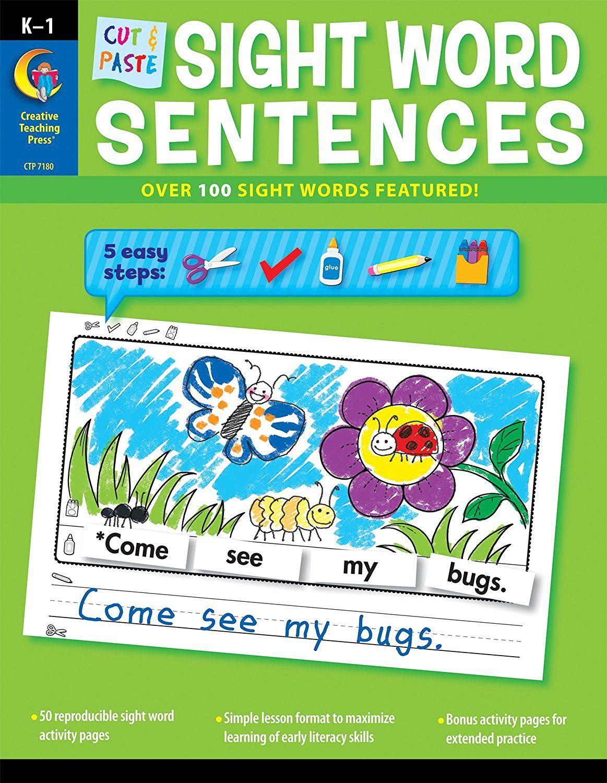 worksheet Creative Teaching Press Worksheets cut paste sight words sentences literacy pinterest word sentences