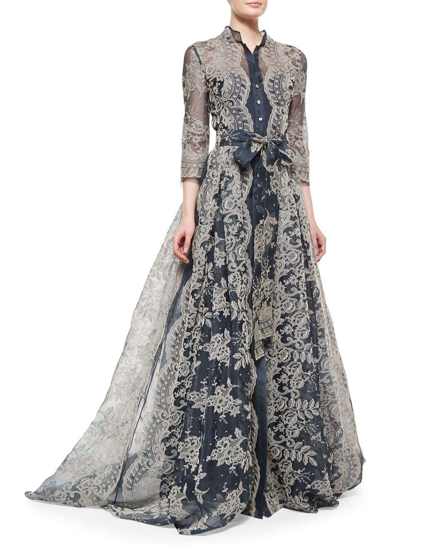 Carolina Herrera bordado Lace plissadas vestido   Vestidos para ...
