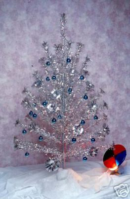 christmas tree - Vintage Silver Christmas Tree
