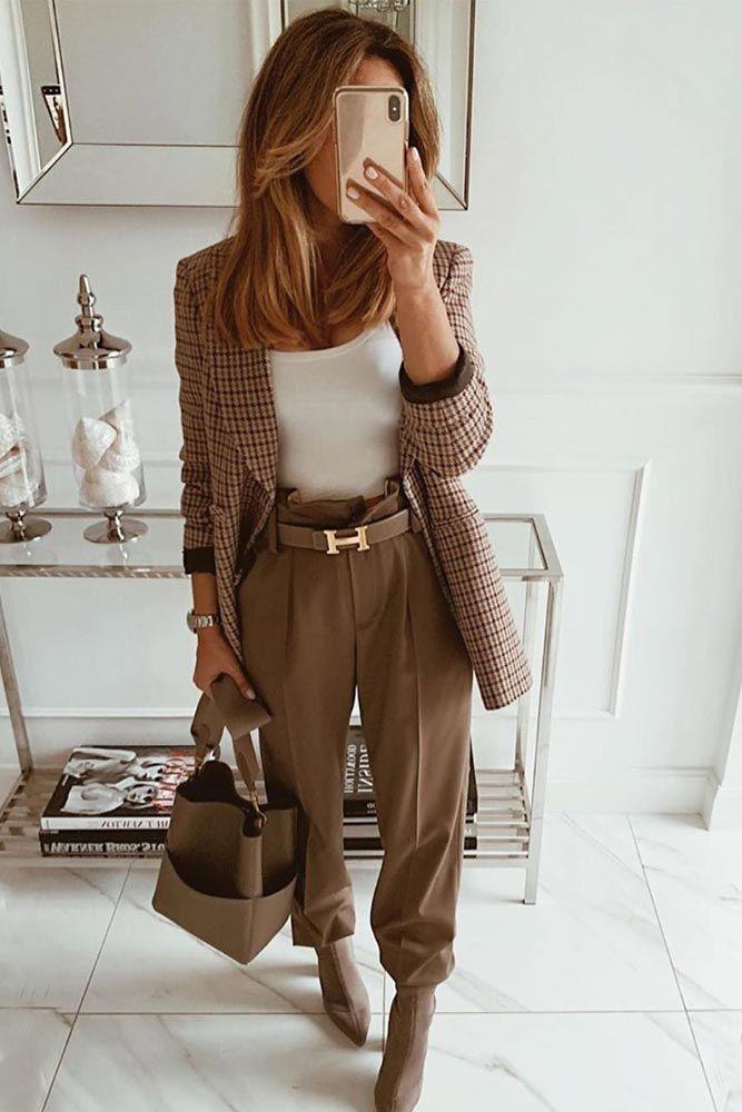Pantalon taille haute avec veste à carreaux    – My Style Pinboard