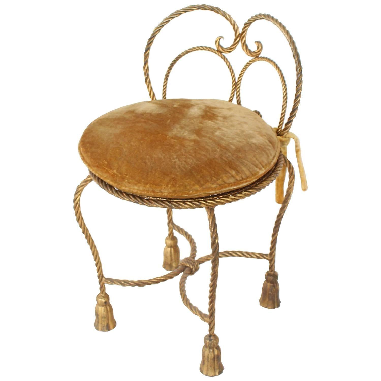 Gold gilt iron rope tassel upholstery vanity chair