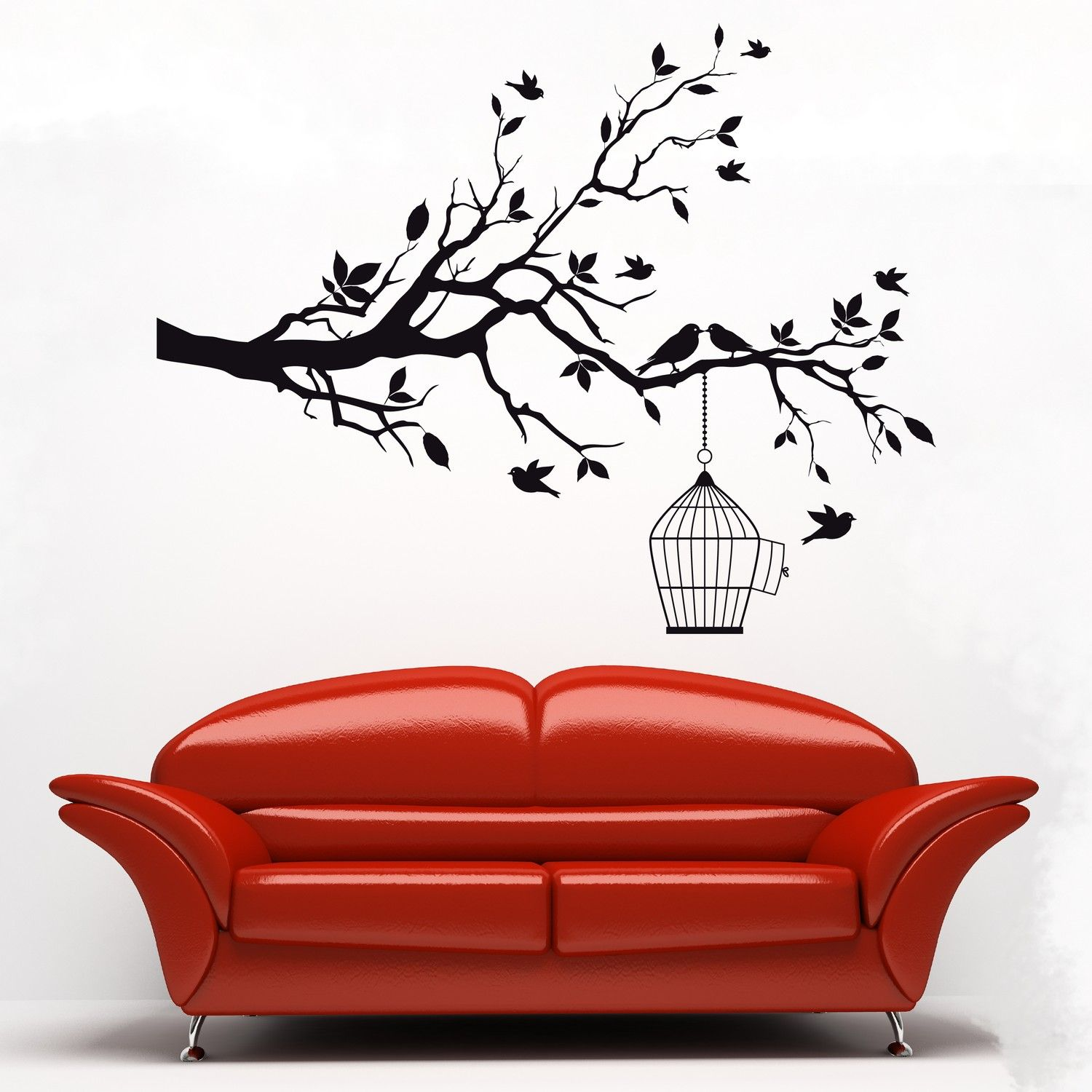 Modern Vinyl Wall Art Modern Black Silhouette Branch With Birds And Birdcage