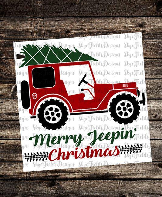 Christmas Jeep Silhouette.Merry Jeepin Christmas Tree Svg Silhouette Studio Cameo