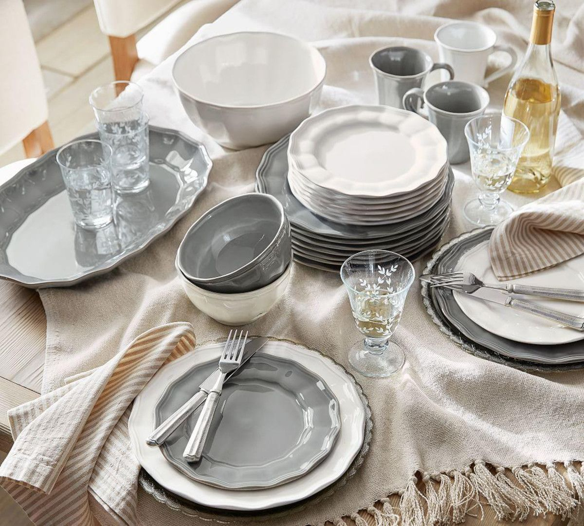Pewter Scalloped Charger Farmhouse Dinnerware Sets