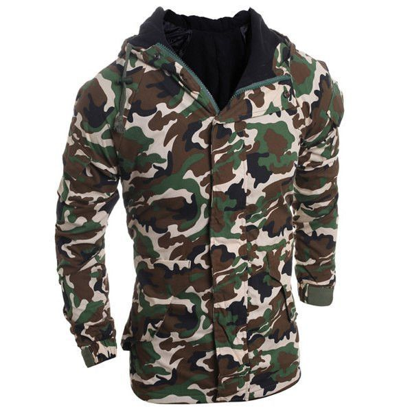 Camouflage Pattern Hooded Long Sleeve Thicken Men's Zip-Up Jacket