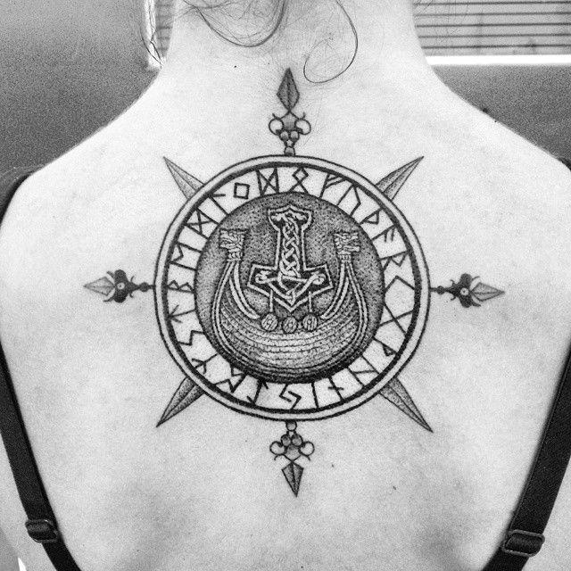 andreboitattoo: #Viking #tattoo #Vikingcompass like the placement