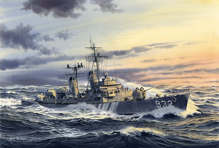 Destroyer USS John Paul Jones - Watercolor Painting by Richard Moore