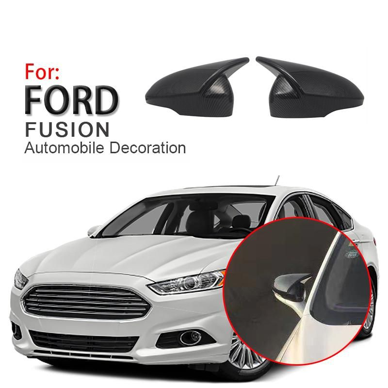 Carbon Fiber Pattern Rear View Mirror Cover Cap For Ford Fusion Mondeo 2013 2018