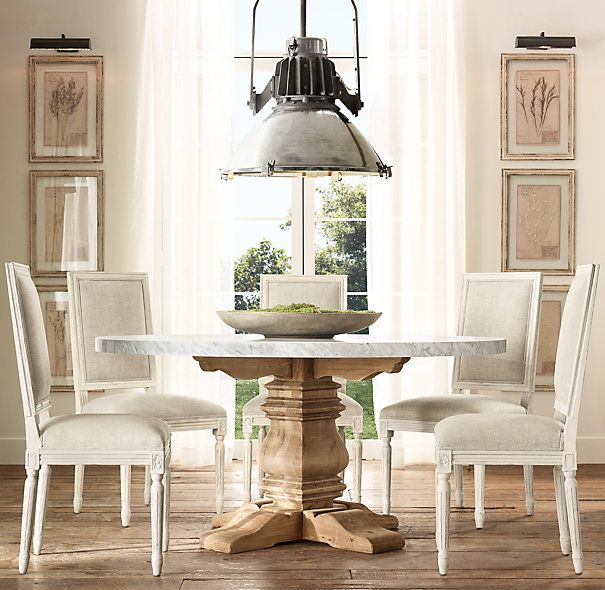 Salvaged Wood Amp Marble Trestle Round Dining Table Home