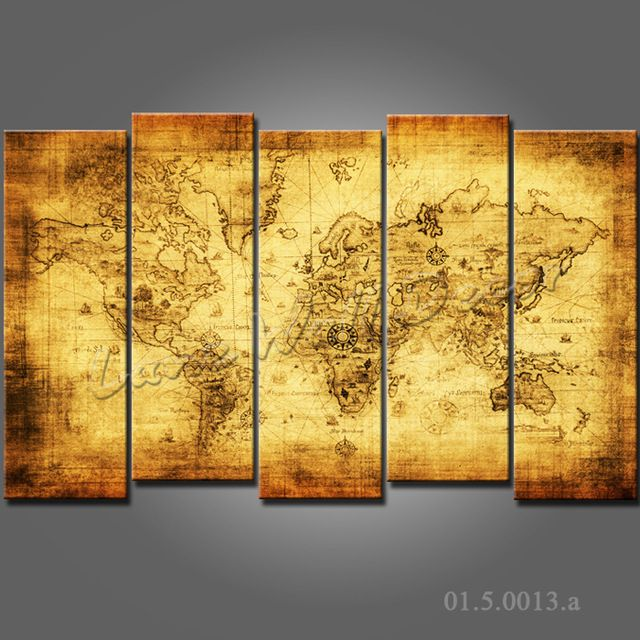 Aliexpress.com : Buy Framed 5 pieces canvas painting the world map ...