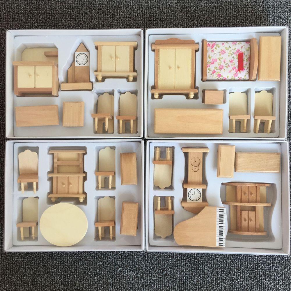 cheap wooden dollhouse furniture. 29Pcs Set Dollhouse Miniature Unpainted Wooden Furniture Suit 1/24 Scale Model #Generic Cheap E