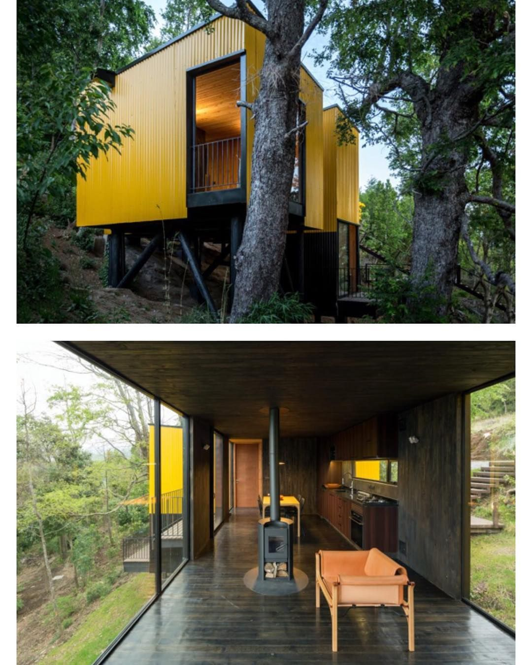 Yellow House A Prefab House In Pucón Chile By