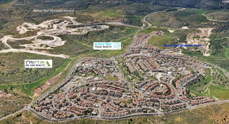Aerial Photo of Ramat Beit Shemesh Aleph & Gimmel (M3 is on the bottom left.)