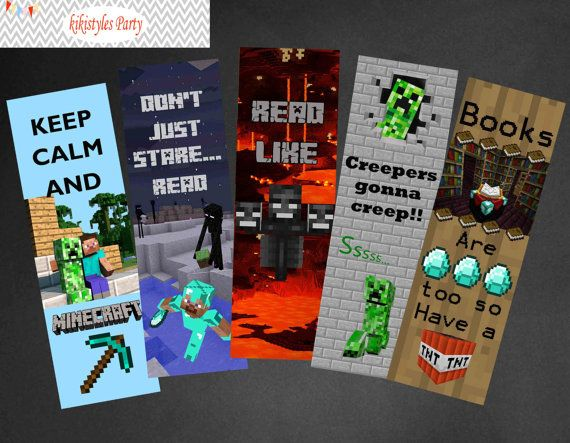 Minecraft bookmark party favors party printables diy for Minecraft bookmark template