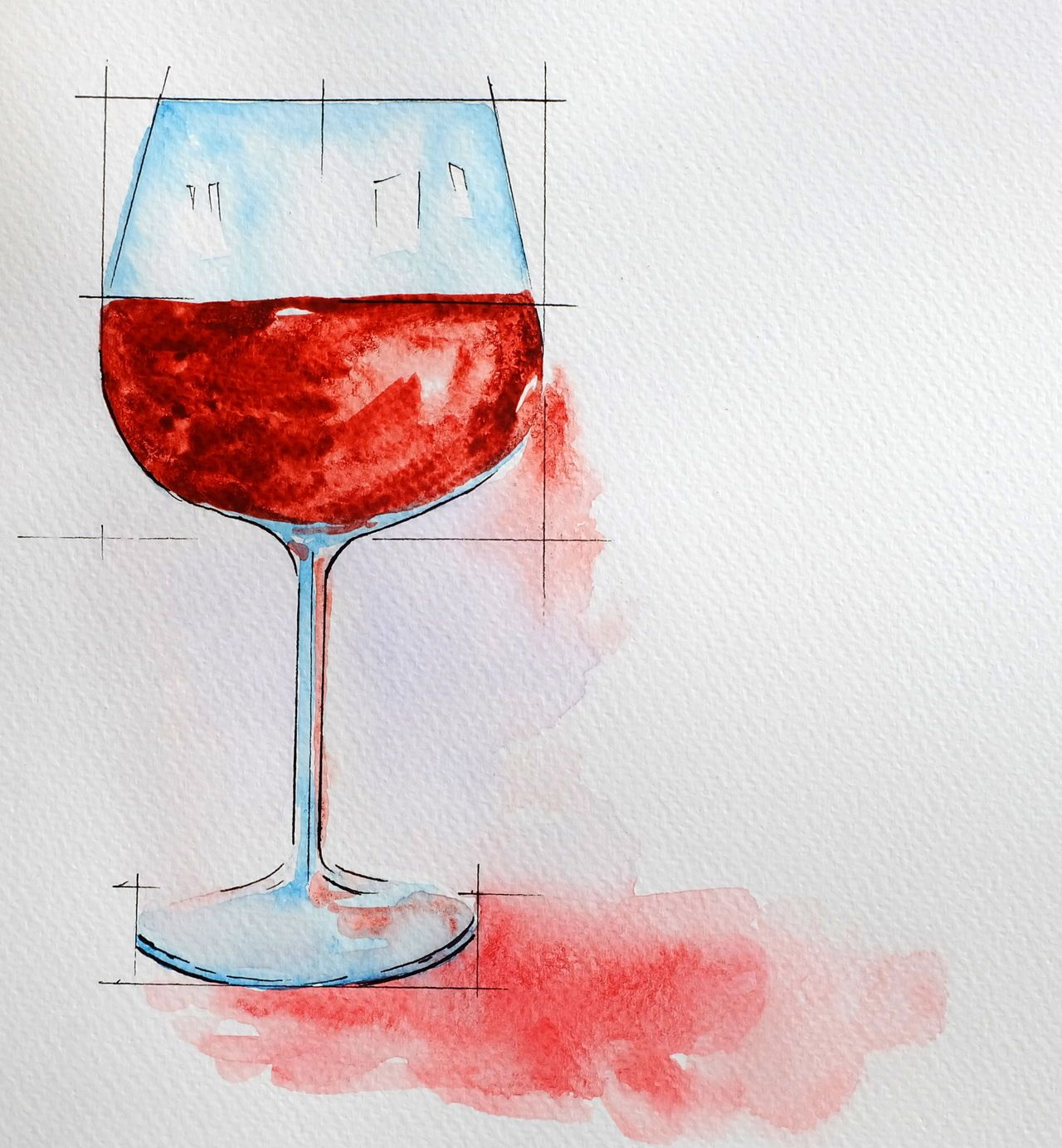 Wine Glass Painting With Watercolor Watercolor Paintings