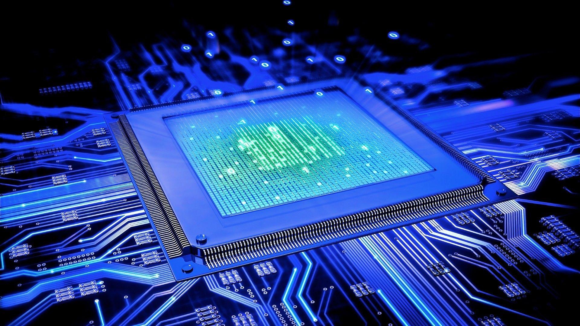 Motherboard Blue Circuits Circuit Board computer wallpaper