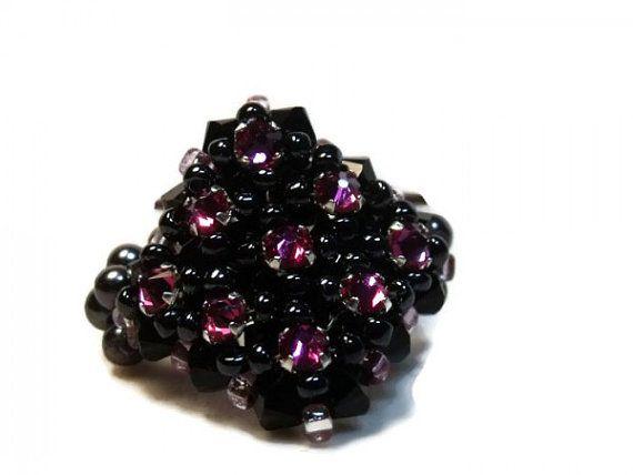 Black and Pink Swarovski Crystal Beaded Stretch Ring