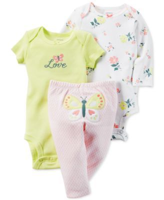 Carters Butterfly Floral Print Sleep /& Play WHITE MULTI Newborn