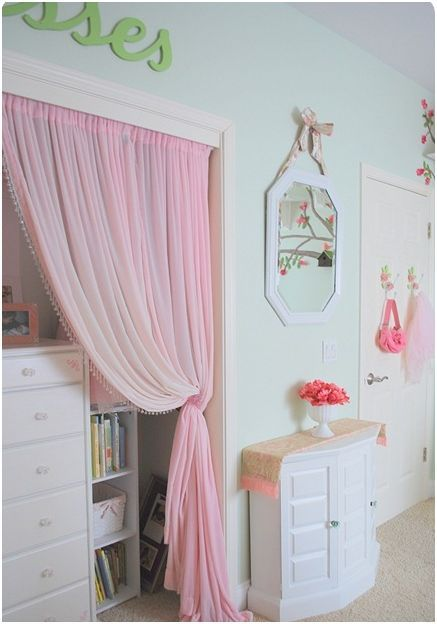 Girl S Room In Bloom Small Kids Room Kids Room Curtains Curtains For Closet Doors