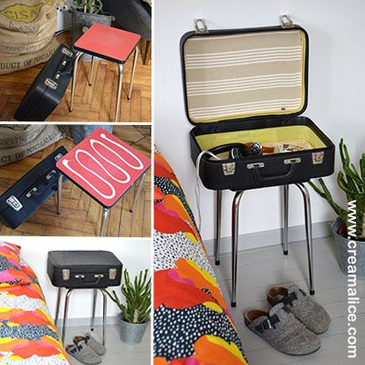 diy chevet r cup avec une vieille valise diy r cup upcycling pinterest vieilles. Black Bedroom Furniture Sets. Home Design Ideas