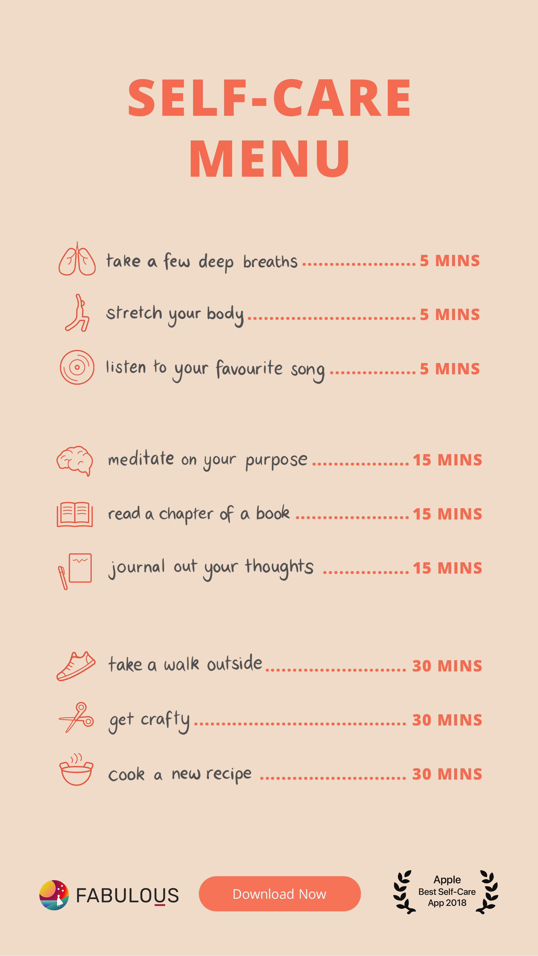 Your Daily Self Care Menu In