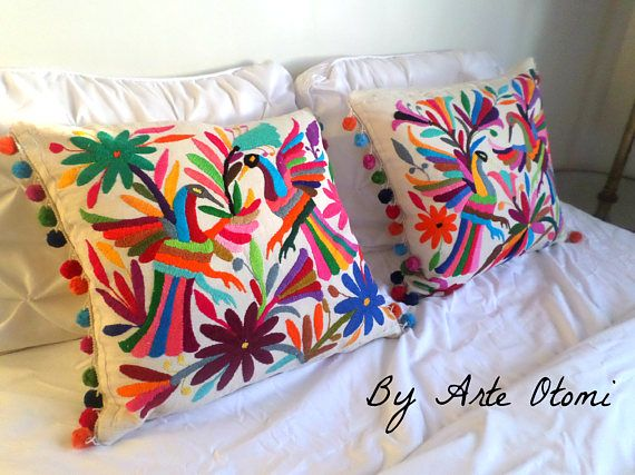 Beautiful Otomi pillow sham Multicolor with Pomp poms - Otomi Cushions 100% cotton - Decorative pillow shams - Pillow cases  - Throw Pillow