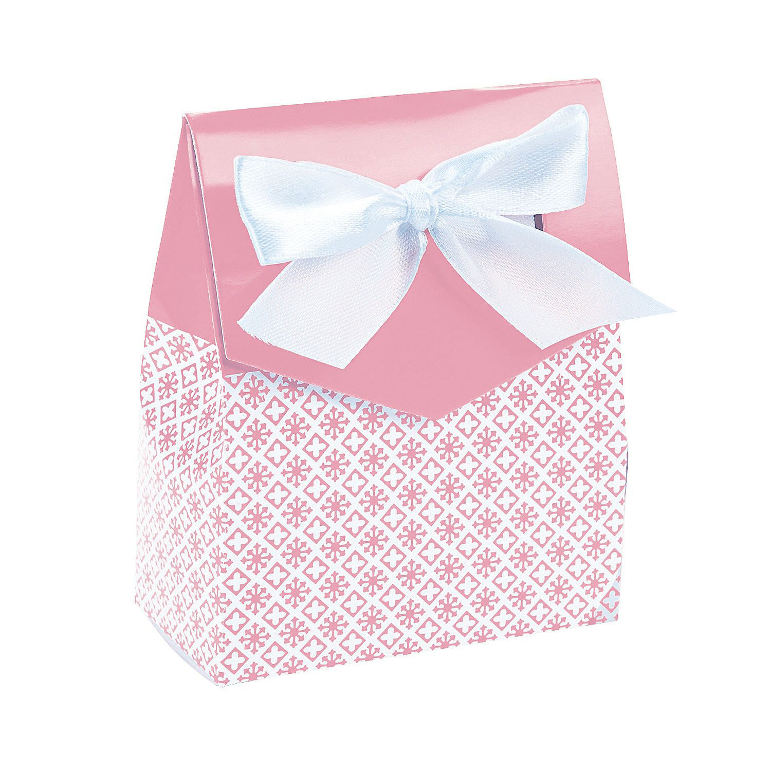 Light Pink Tent Favor Boxes with Bow - OrientalTrading.com | Baby ...