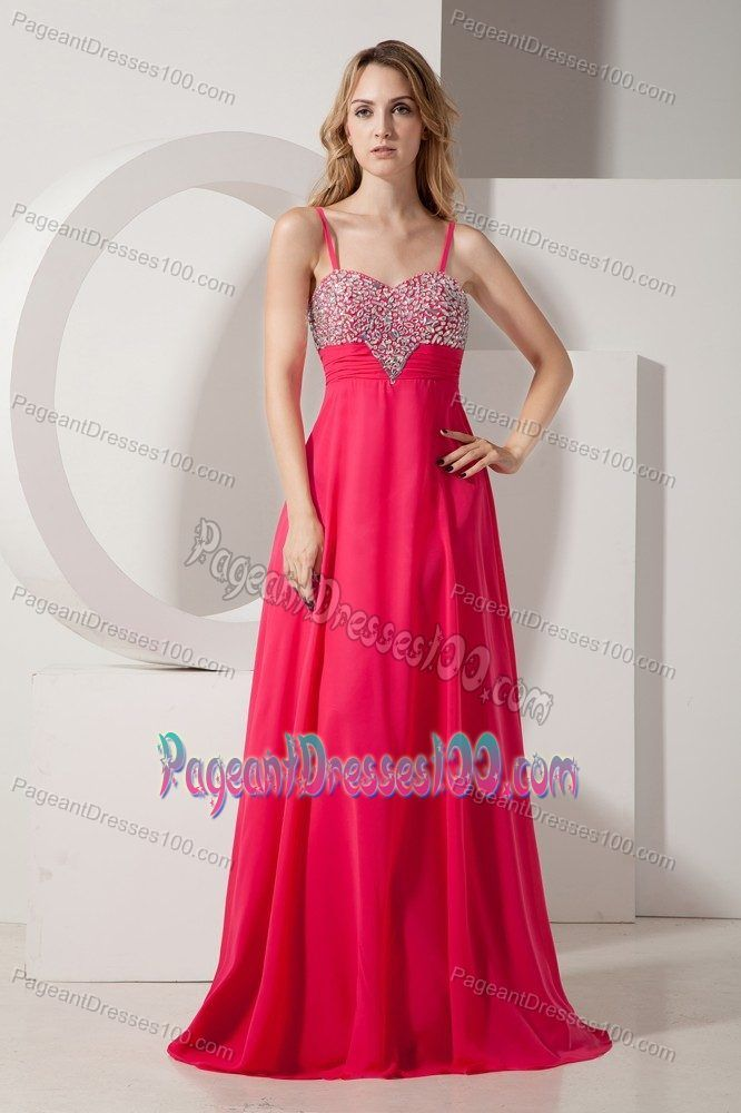 Spaghetti Straps Empire Beading Coral Red Juniors Pageant Dresses