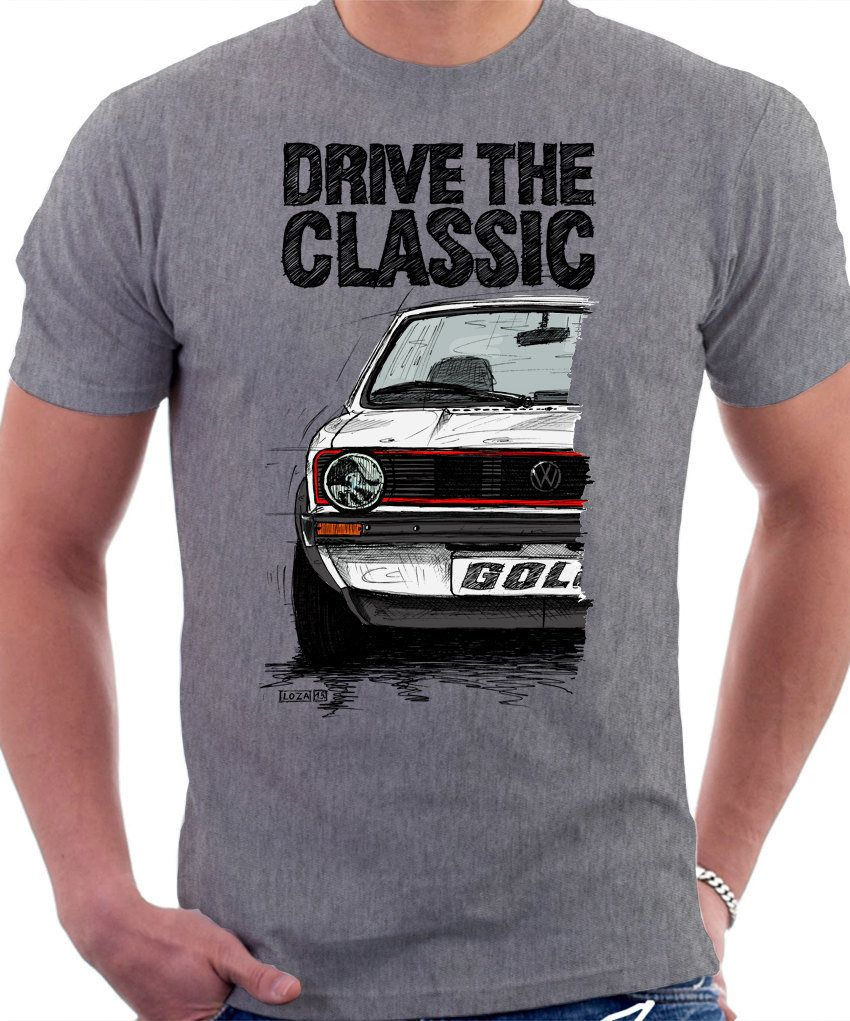 CLASIC Retro VW Golf Mk 1 T shirt Heather Grey. Original