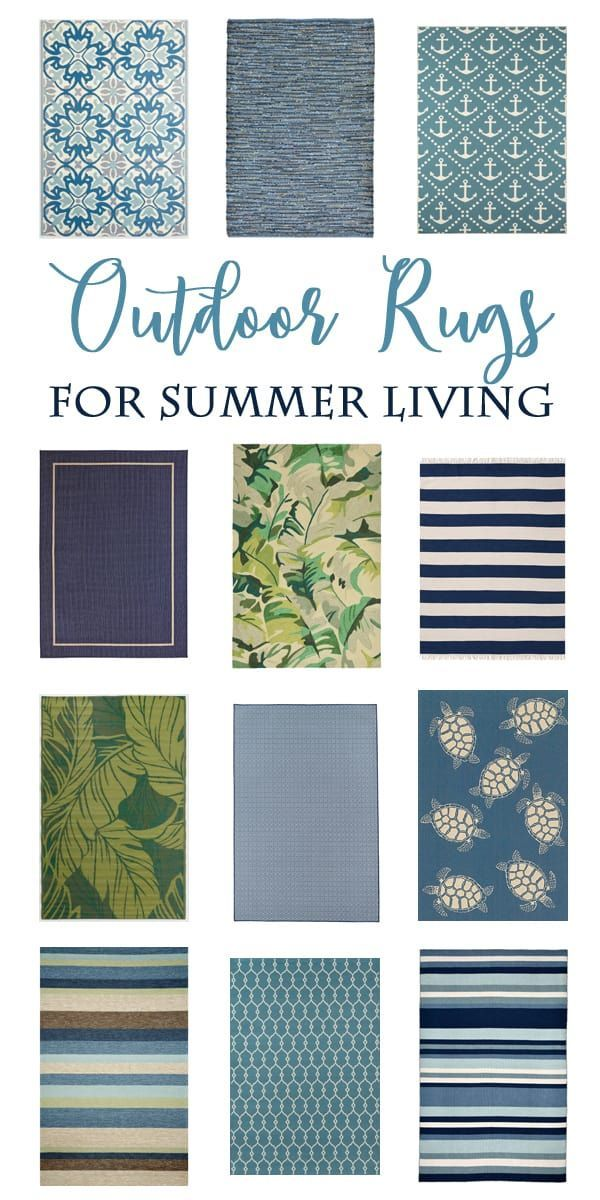 Over 20 gorgeous Outdoor Rugs in beautiful blue and green tones. #outdoorrugs
