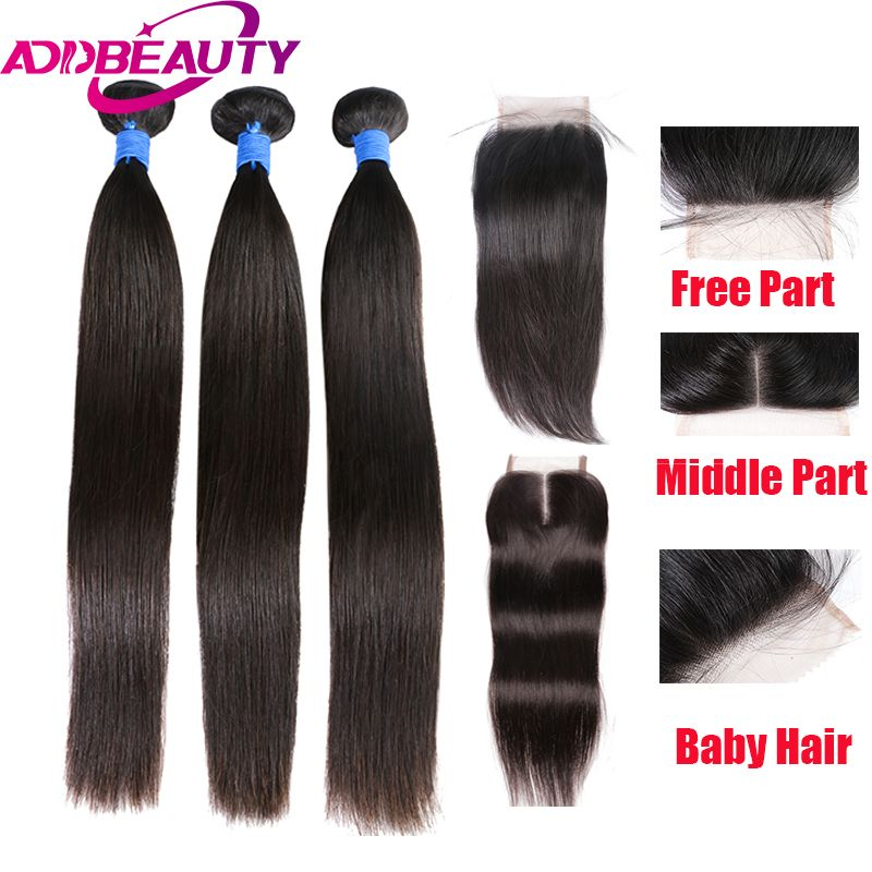 Addbeauty Peruvian Virgin Straight Hair With 44 Lace Closure Can