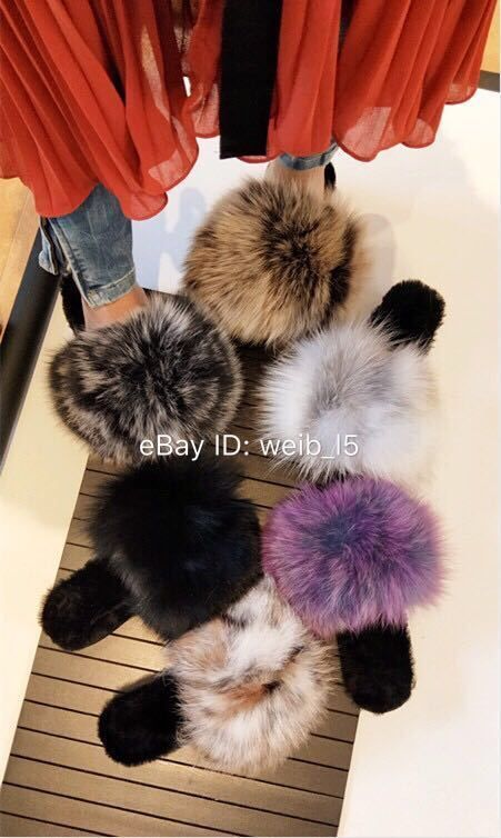 a67017a2103 2017 Fall Winter Luxury Big Fox Fur Slippers Heigh Platform Sheep Inner  Slides