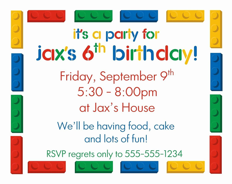 Kids Birthday Invitation Template New Birthday Party Invitation Letter Fo Lego Birthday Invitations Lego Party Invitations Birthday Party Invitations Printable