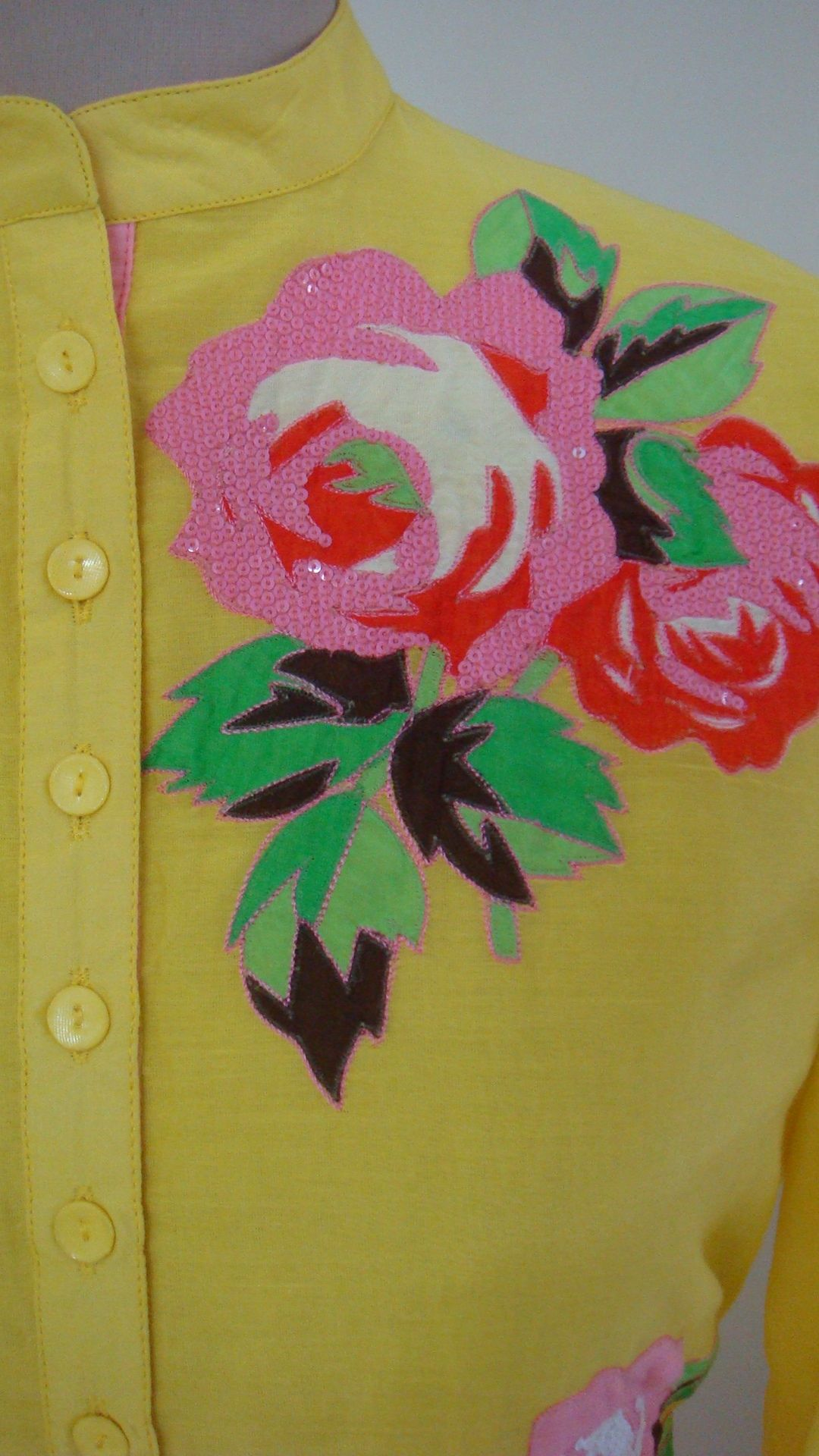 Tunic Yellow Rose Patchwork Machine Embroidered Sequins Hand Embroidered Hand Work Embroidery Fabric Paint Designs Embroidery Designs,Neutral Baby Shower Nail Designs