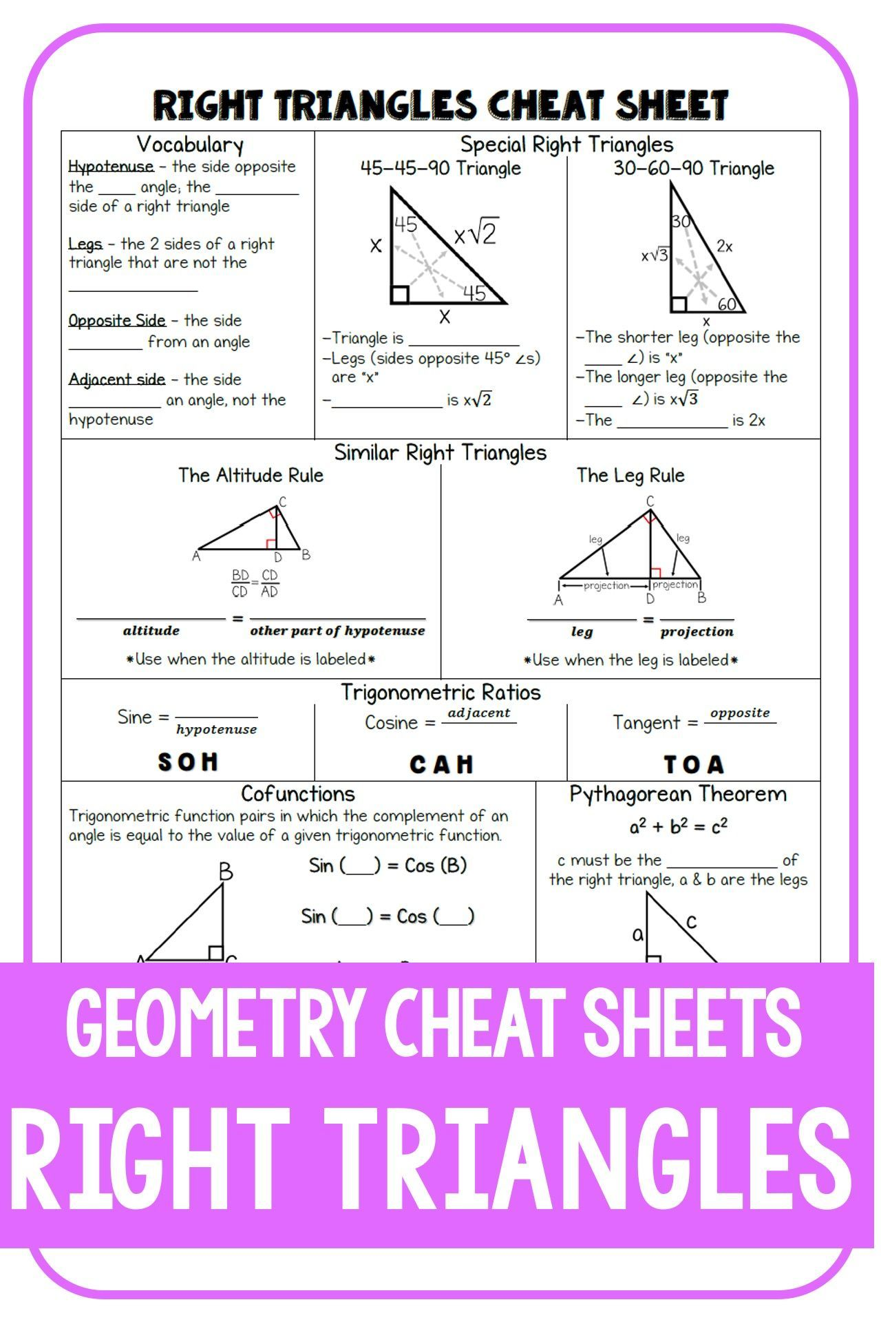 Geometry Cheat Sheet: Right Triangles   High school math teacher [ 1920 x 1280 Pixel ]
