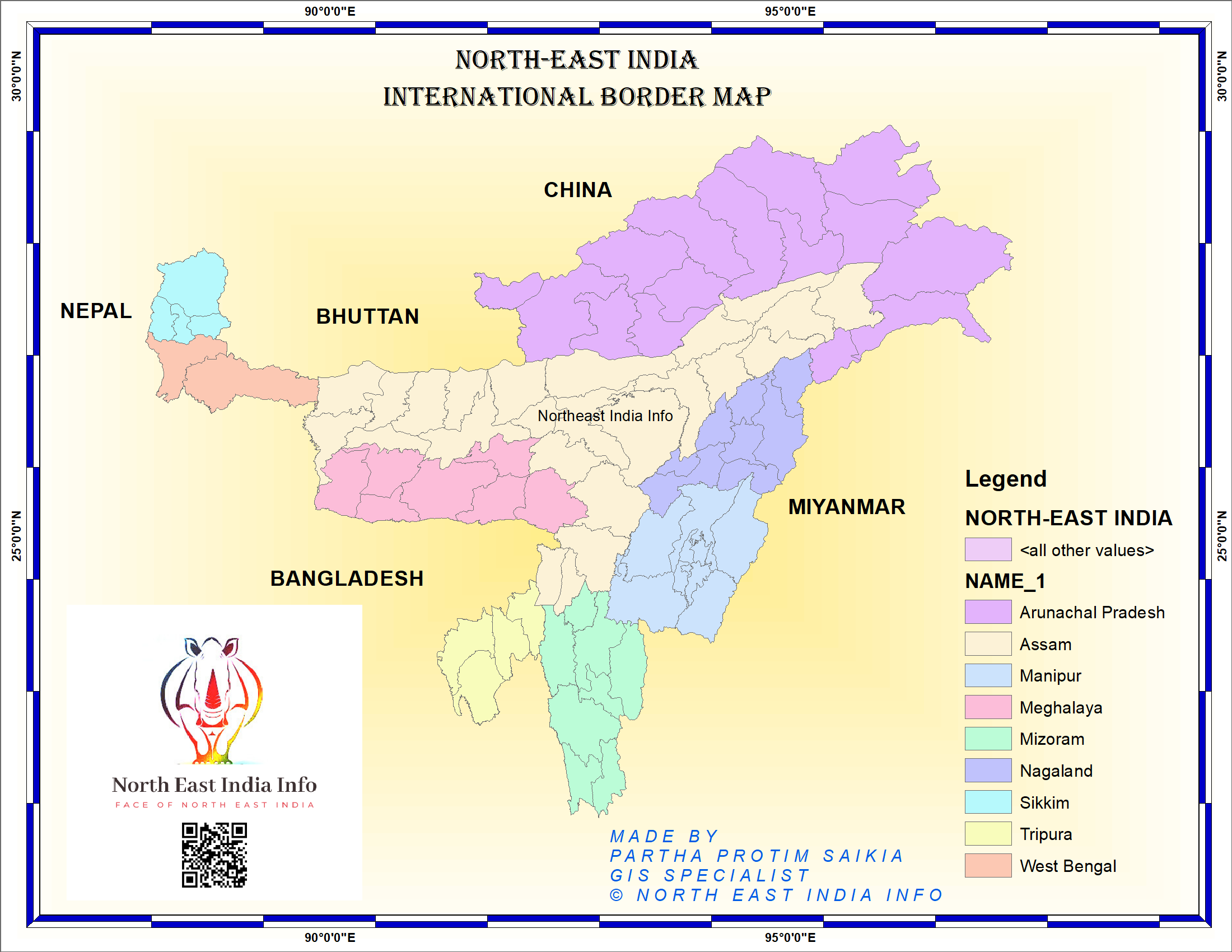 Northeast India Border Map in 2020 Northeast india, Map