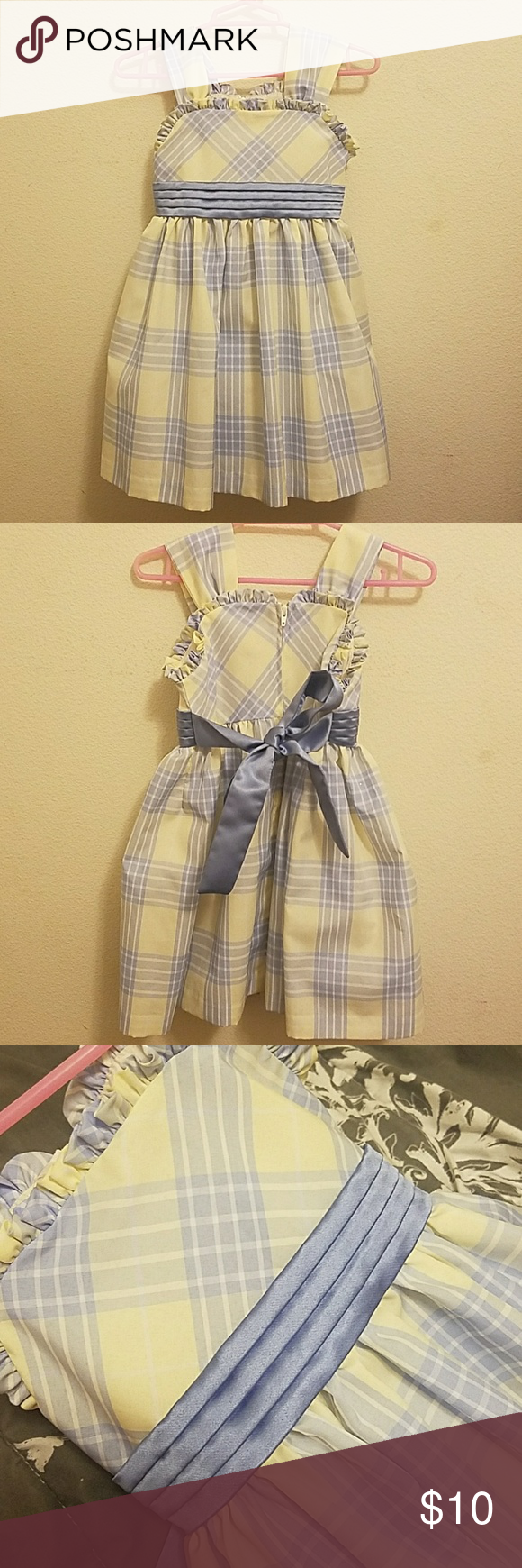Little girl plaid dress yellow and blue strippedplaid little girl