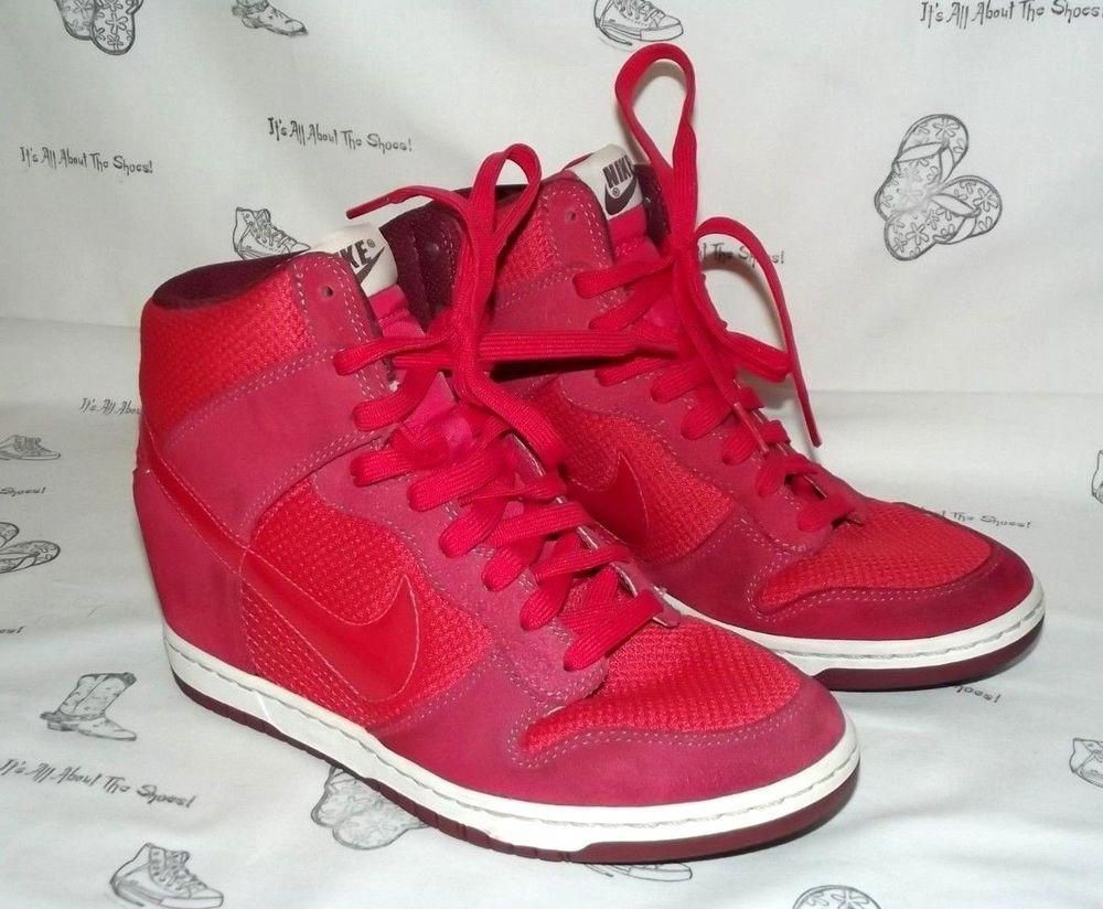25335b961f29dc NIKE Dunk Sky Hi Essential Geranium-Sail-Team Red Wedge Sneakers Womens Size  8  fashion  clothing  shoes  accessories  womensshoes  athleticshoes (ebay  ...