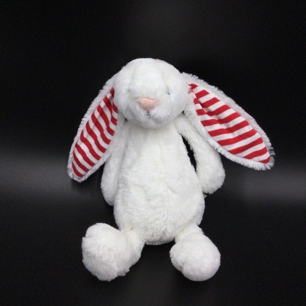 Jellycat Bashful Bunny Candy White Red Rabbit Stripe Ears 7\