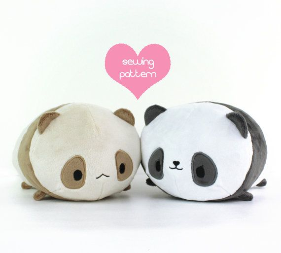 PDF sewing pattern - Panda Bear Roll plush - stacking loaf plushie ...