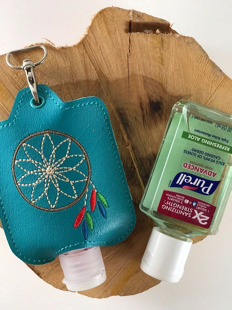 Machine Embroidered Hand Sanitizer Jacket Clips To Keychain Purse