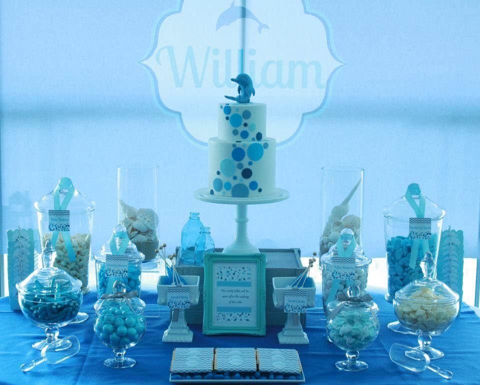 dolphin baby shower theme william s christening dolphin themed cake featuring keepsake clay blue candy