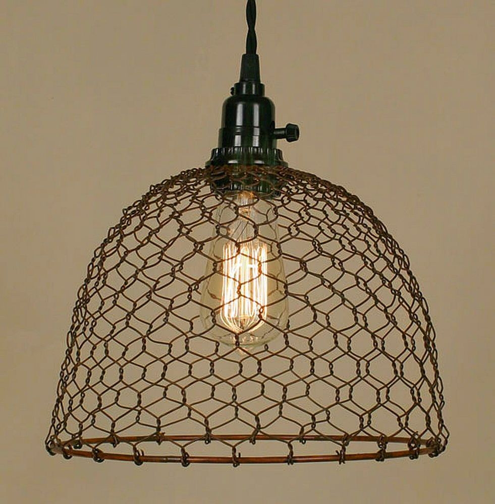 Only 2 Left Industrial Chicken Wire Dome Pendant Light Lamp Close Wiring A Fixture From An Outlet Out Special Colonialtinworks Vintageindustrialearlyamerican