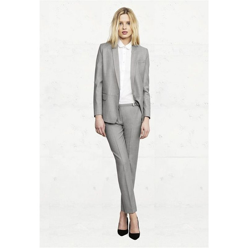 Light Gray Womens Business Suits Office Uniform Style Formal Pant Suits For  Weddings Tuxedo Female Trouser Suits Custom Made a1dc50795040