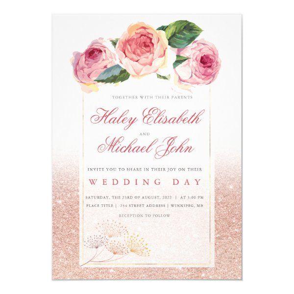 Modern Rose Gold Glitter & Floral Blush Wedding Invitation | Zazzle.com