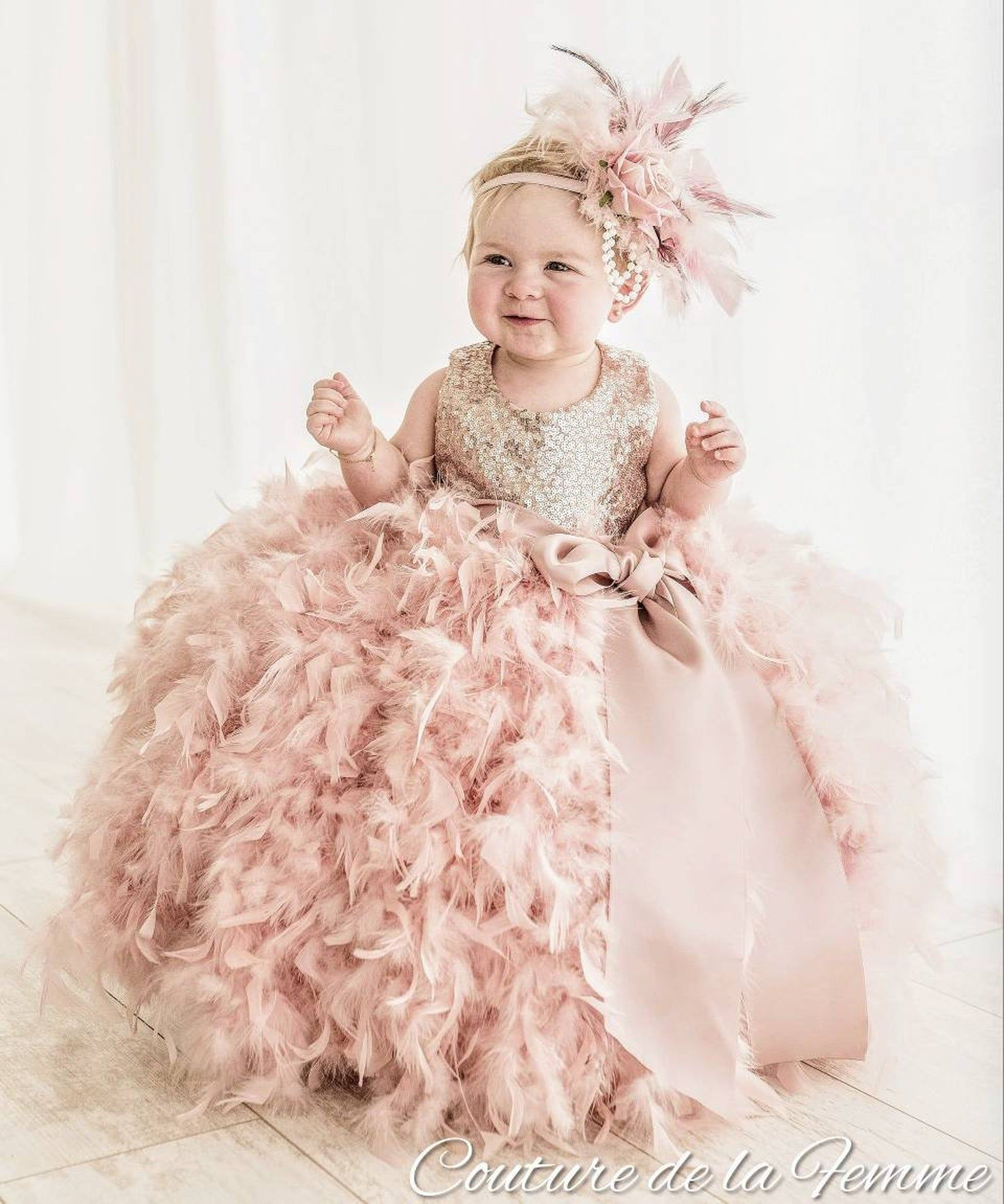 Blush flower girl dress baby toddler girl pink blush first