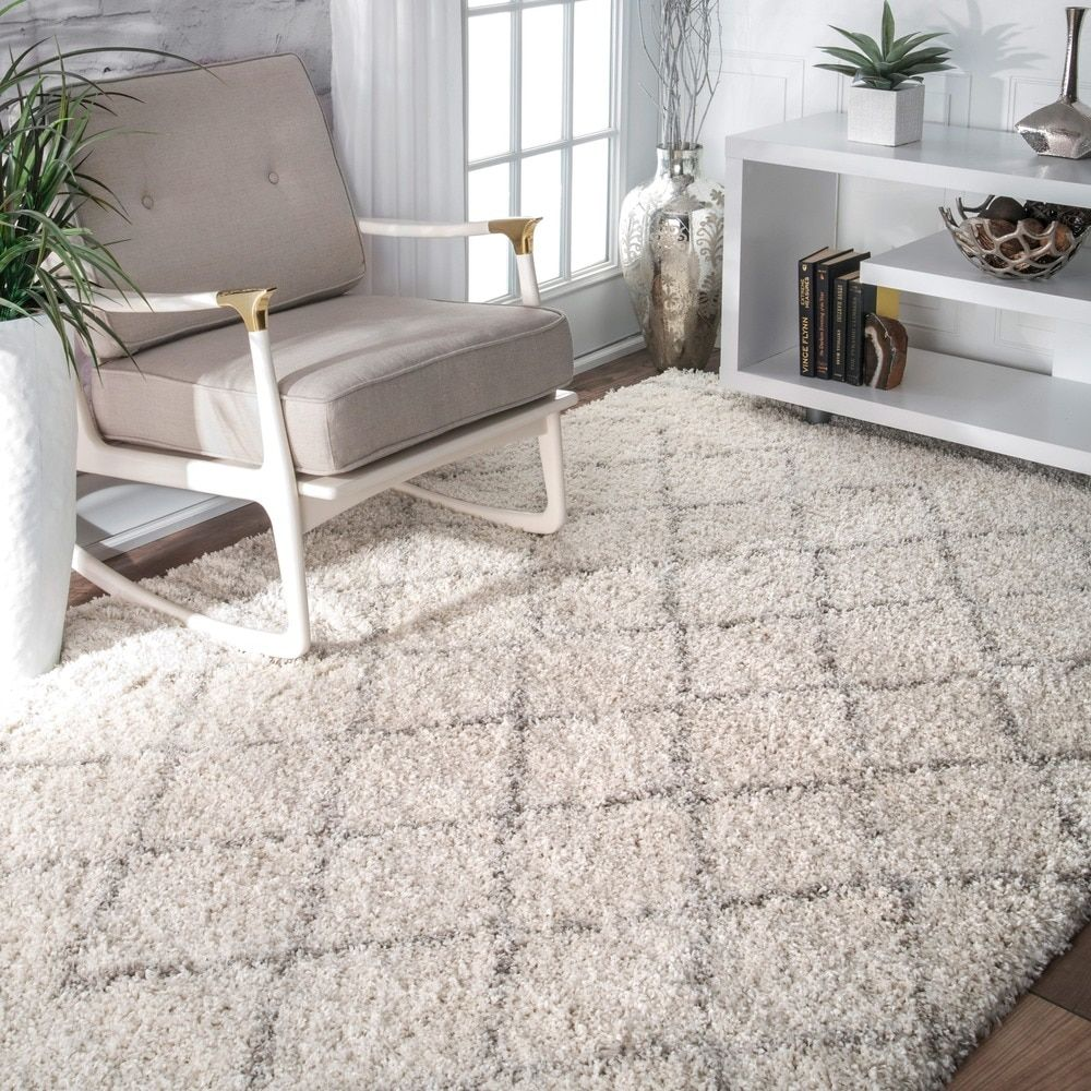 nuLOOM Soft and Plush Moroccan Trellis Natural Shag Rug (7'6 x 9'6) - Free Shipping Today - Overstock.com - 17605174 - Mobile
