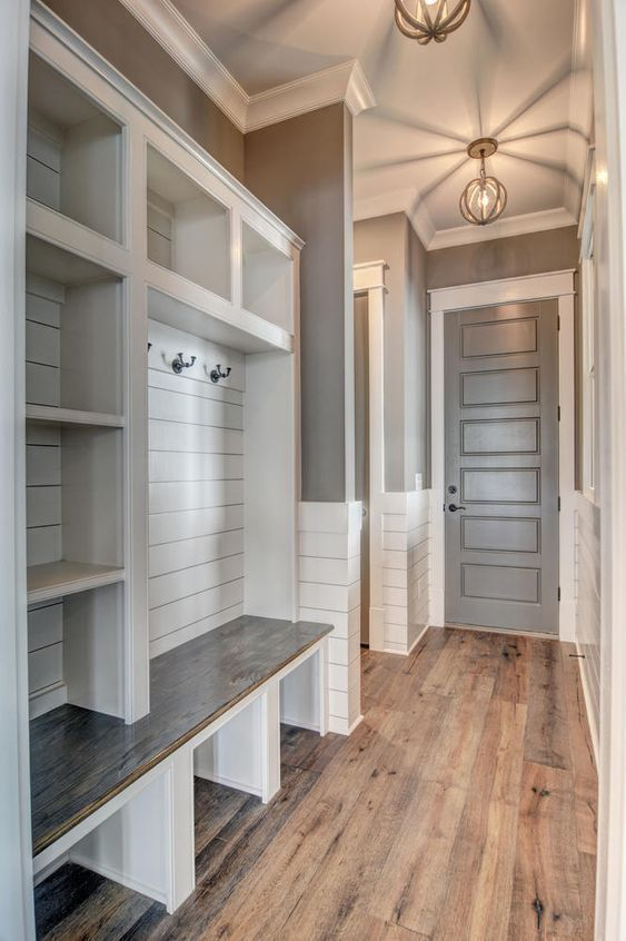 Love The Floor Color Like The Idea Of Shiplap On The Cubby Wall Don T Like The Wainscot Home