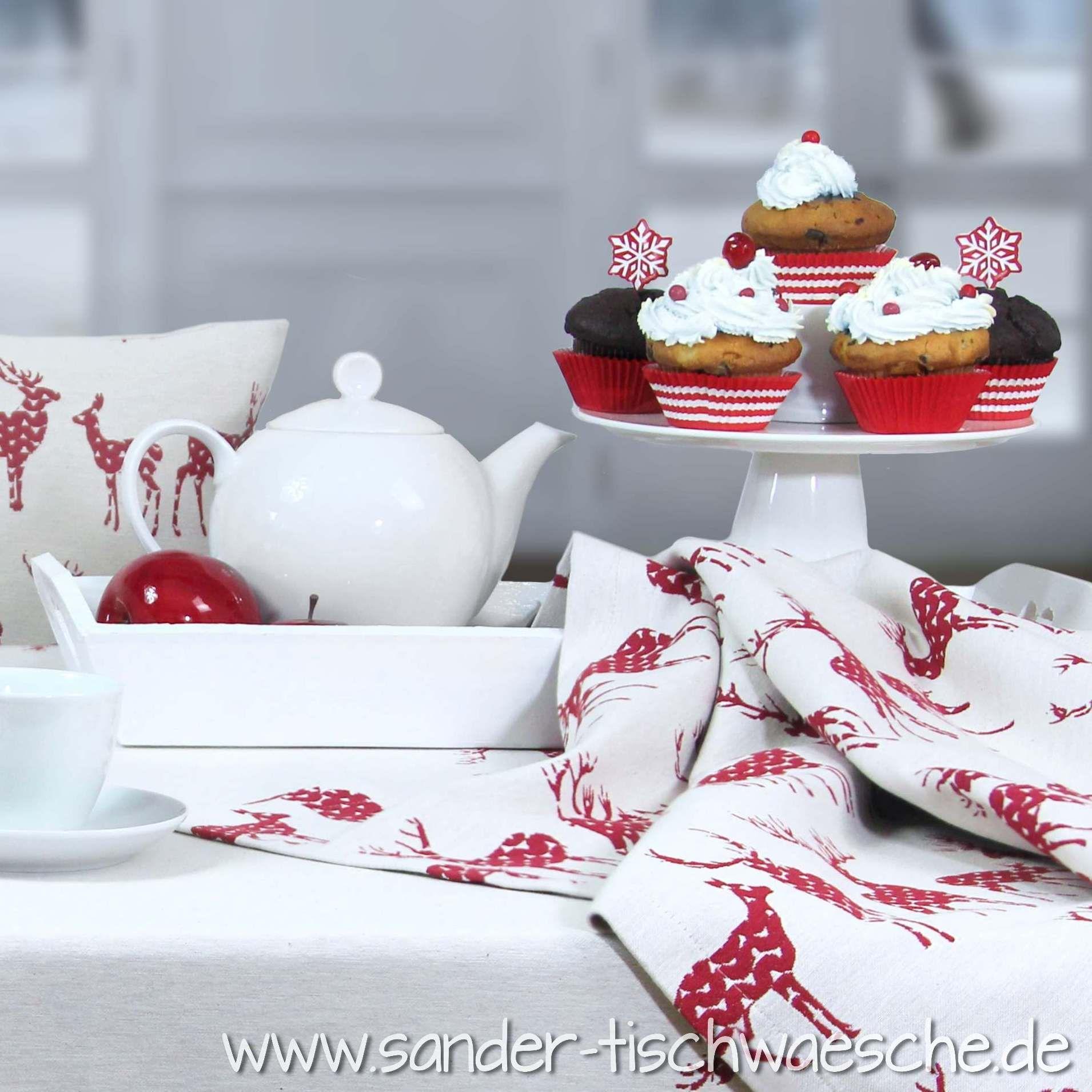 weihnachtliche cupcakes lecker tischw sche rudolph mit rentieren von sander weihnachten. Black Bedroom Furniture Sets. Home Design Ideas